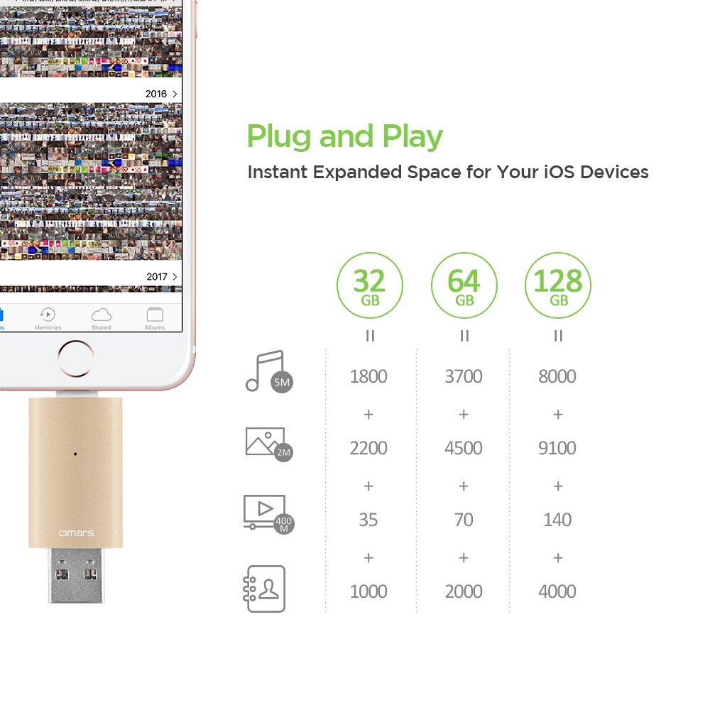 iPhone Lightning iOS Flash Drive 128GB [Apple MFI Certified] OMARS® USB 3.0 External Storage Memory Stick Adapter Expansion for iPad iOS PC Macbook