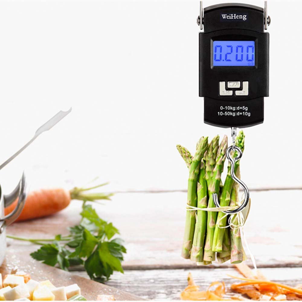 Fishing Scale , 110lb/50kg Electronic Balance Digital Scale Hook With D Shape Buckle , Backlit LCD Screen Mini Portable Hanging Measures For Kitchen , Luggage , Postal 2 AAA Batteries (Not Included) by ieasycan