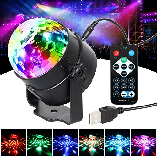 Party Lights Disco Ball 7 Colors Sound Activated Stage Disco Lights Remote Control Strobe Lamp USB Plug in 5V laser Lighting LED Effect Show RBG Dance Ball Mood light For Birthday (Colour Led Laser)