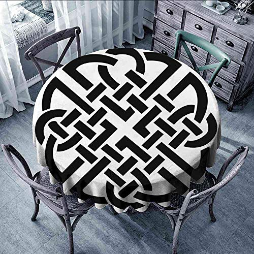 LsWOW Tablecloth Celtic,Celtic Pattern Ancient Scottish Knights in Medieval Design Artistic Illustration,Black White Tablecloth Round for Wedding Size:D35]()