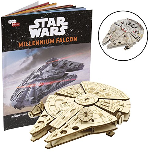 3d Wars Puzzle Star - Star Wars Millennium Falcon Book and 3D Wood Model Kit - Build, Paint and Collect Your Own Wooden Model - Great for Kids and Adults,12+ - 3