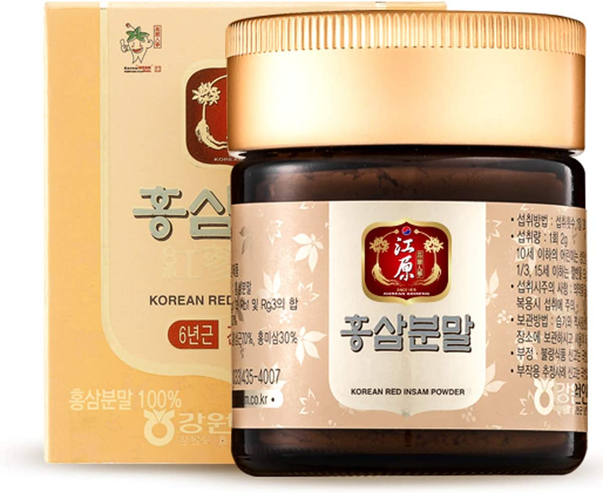Gangwoninsam Korean Red Ginseng Powder Contains 100 6 Year Korean Red Ginseng Powder, Healthy Korean Food, 60g 2.12 fl. oz 60g