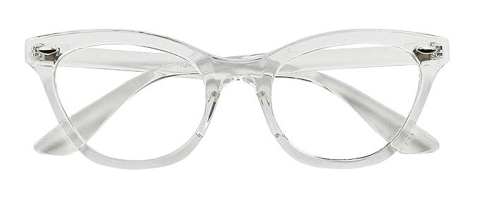 a71427d57b Basik Eyewear - Super Trendy Squared Off Sleek Clear Lens Cat Eye Fashion  Glasses (Clear