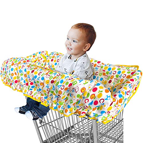- 2 in 1 Shopping Cart Cover and Restaurant High Chair Cover for Baby and Toddler, Large Size, Premium Cotton Quality, Germ Protector, Safety Harness, Great for Boy or Girl by Comfe-N-Safe