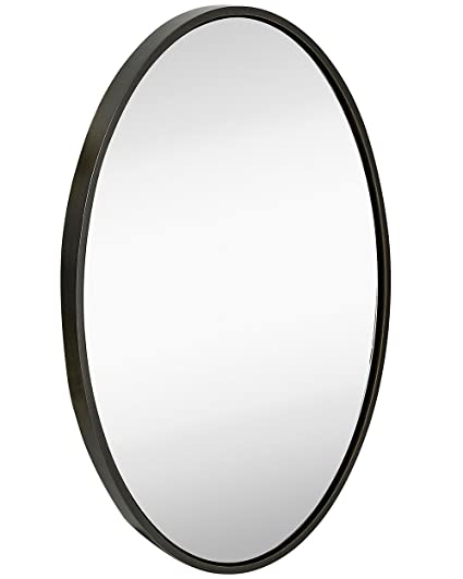 Amazon.com: Clean Large Modern Wenge Oval Frame Wall Mirror ...