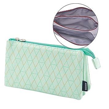iSuperb Estuche Muje Estuche Escolar Niña Lápices Estuches Tres Pisos Bolso de Cosméticos Pencil Case (Green Rhombic)