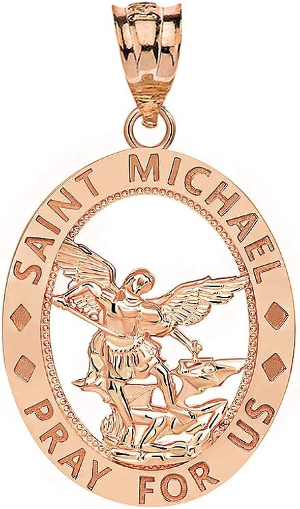 CaliRoseJewelry 10k Gold Saint Michael Protect Us Coin Charm Pendant