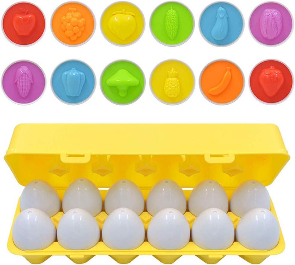 Juego de 12 huevos a juego Color Forma Habilidades de recuperación Juguetes de aprendizaje para preescolar Aprendizaje temprano Educativo Regalo Montessori para niños de 1 2 3 años Niños pequeños Bebé