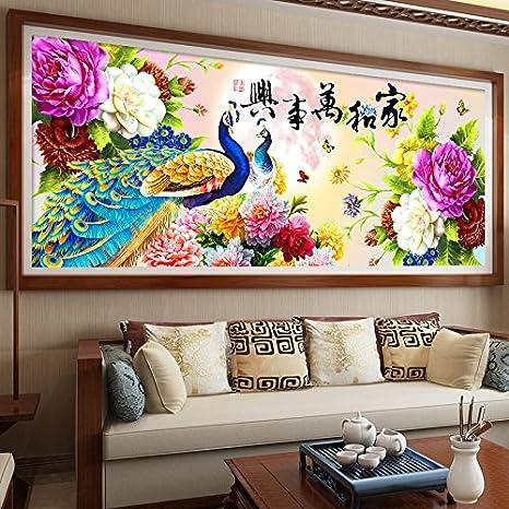 AIGUFENG Producto terminado bordado hecho a mano en punto de cruz y todo el salón de flores Peacock Peony,150 * 63cm: Amazon.es: Hogar