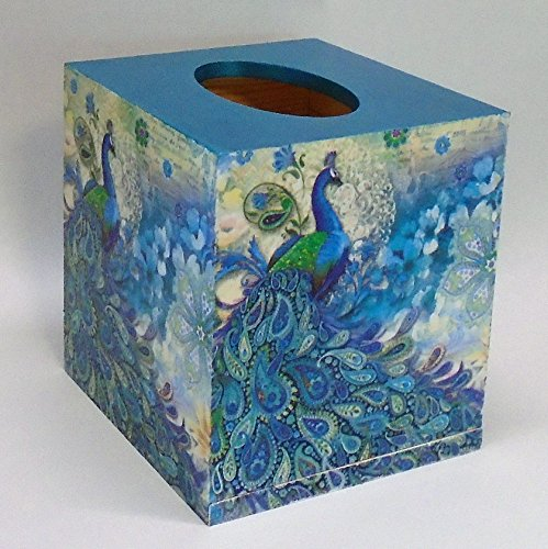 Handmade Decoupage Wood Tissue Box, Peacocks