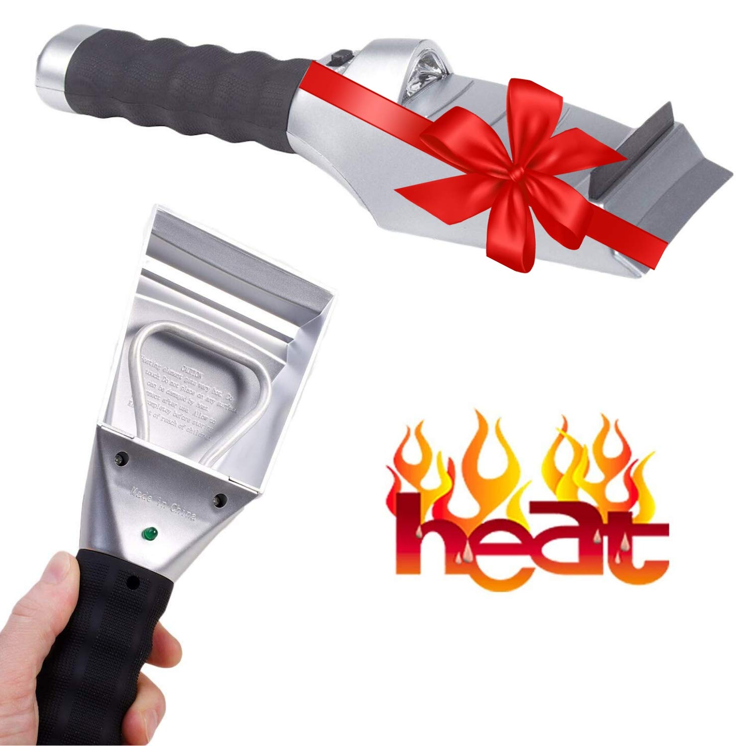 Heated Snow Ice Scraper for Car - Electric Heated Auto Windshield Window Ice Scrapers with Flashlight and Squeegee for Cars, Truck or SUV - Powered 12V Cigarette Socket Save Time Cleaning Ice