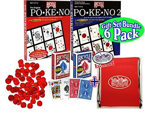 Pokeno (Po-Ke-No) Original Red, Pokeno 2 Blue, Red & Blue Standard Playing Cards, 250 Red 3/4