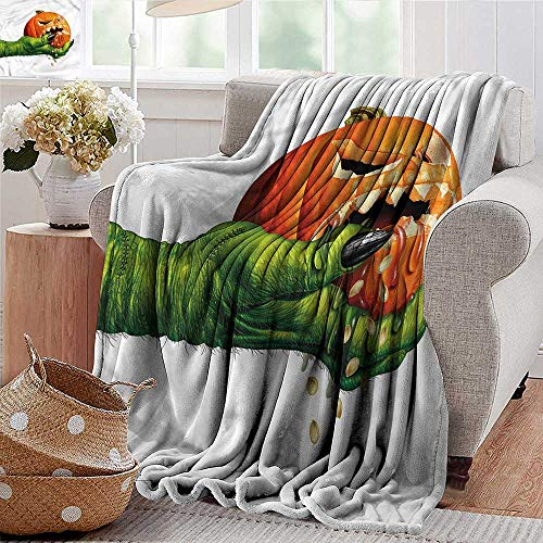 Xaviera Doherty Flannel Throw Blanket Pumpkin,Scary Halloween Monster for Bed & Couch Sofa Easy Care -