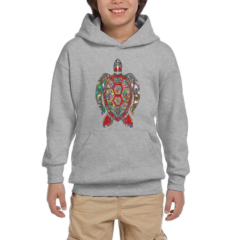 GLSEY Turtle Body Flowers Pattern Youth Soft Pullovers Hooded Sweatshirts Long Sleeve
