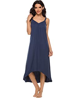Aibrou Womens Cotton V Neck Long Nightgown Sleeveless Full Slip Night Dress