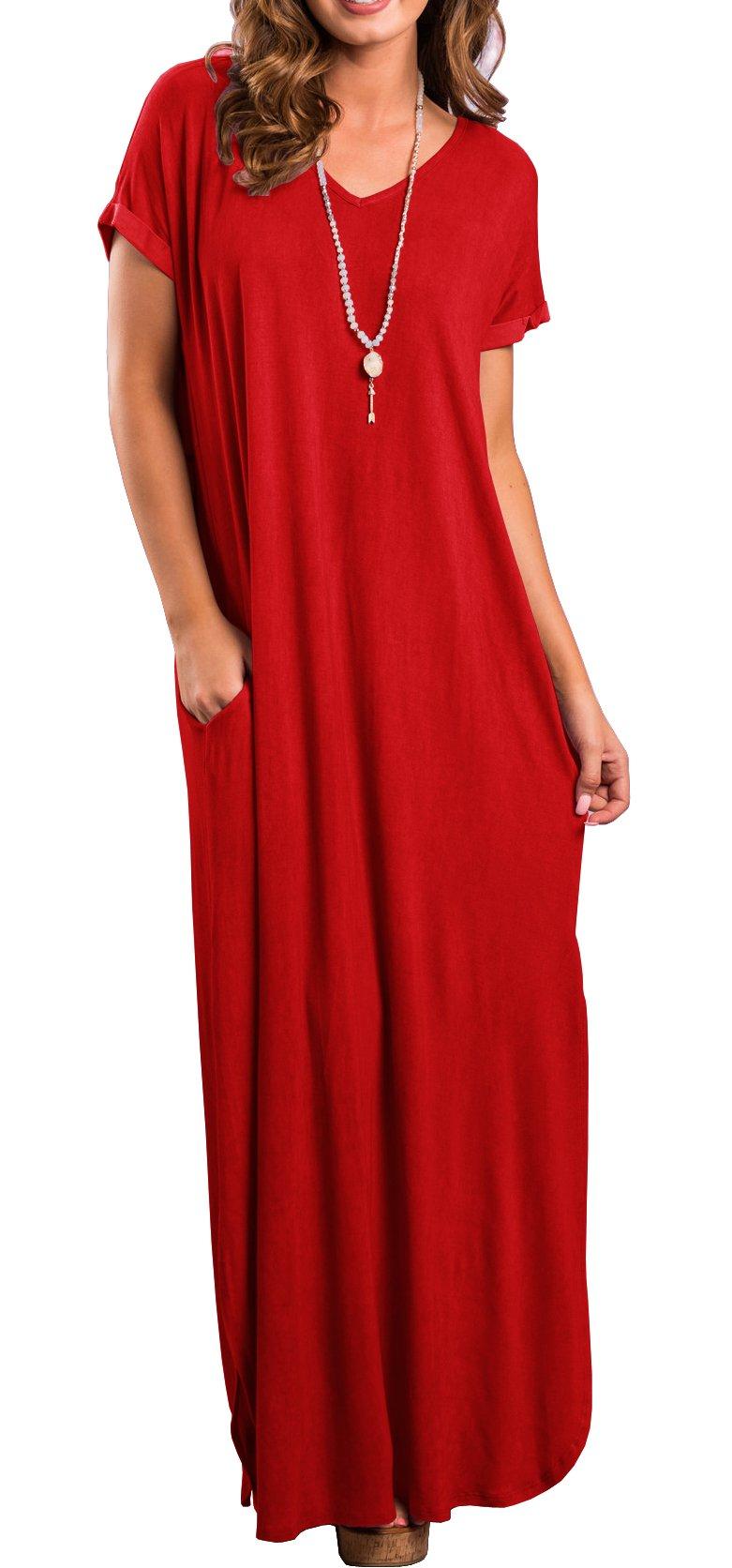 719a455da1cb GRECERELLE Womens Casual V Neck Side Split Beach Long Maxi Dress Red 2XL