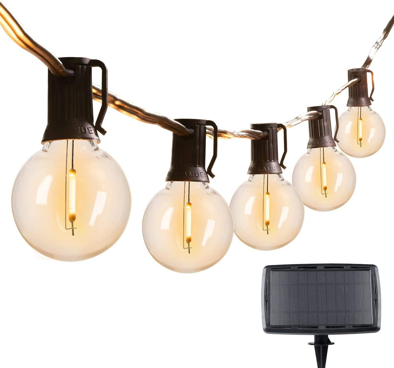 29Feet Solar String Lights Outdoor G40 Patio Lights with 25 LED Shatterproof Bulbs, 4 Light Modes, Weatherproof Hanging Lights for Backyard Bistro Pergola Party Decor, E12 Base, 2700K, Black