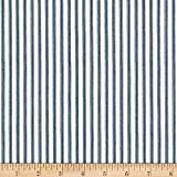 Anne of Green Gables Ticking Stripe Blue Fabric By The Yard