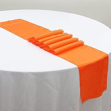 Amazon ourwarm orange satin table runner 12x 108 inch ourwarm orange satin table runner 12quotx 108quot inch wedding party table junglespirit Gallery