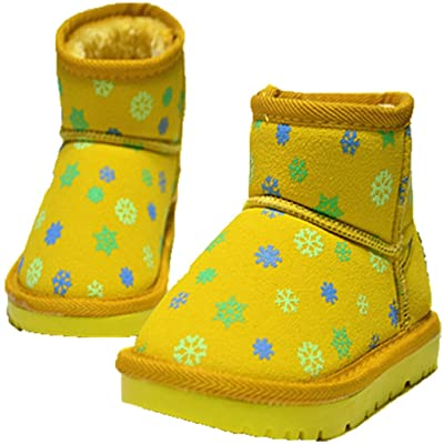 Baby Little Kids Girl Sweet Snow Flower Fur Snow Booties Winter Shoes