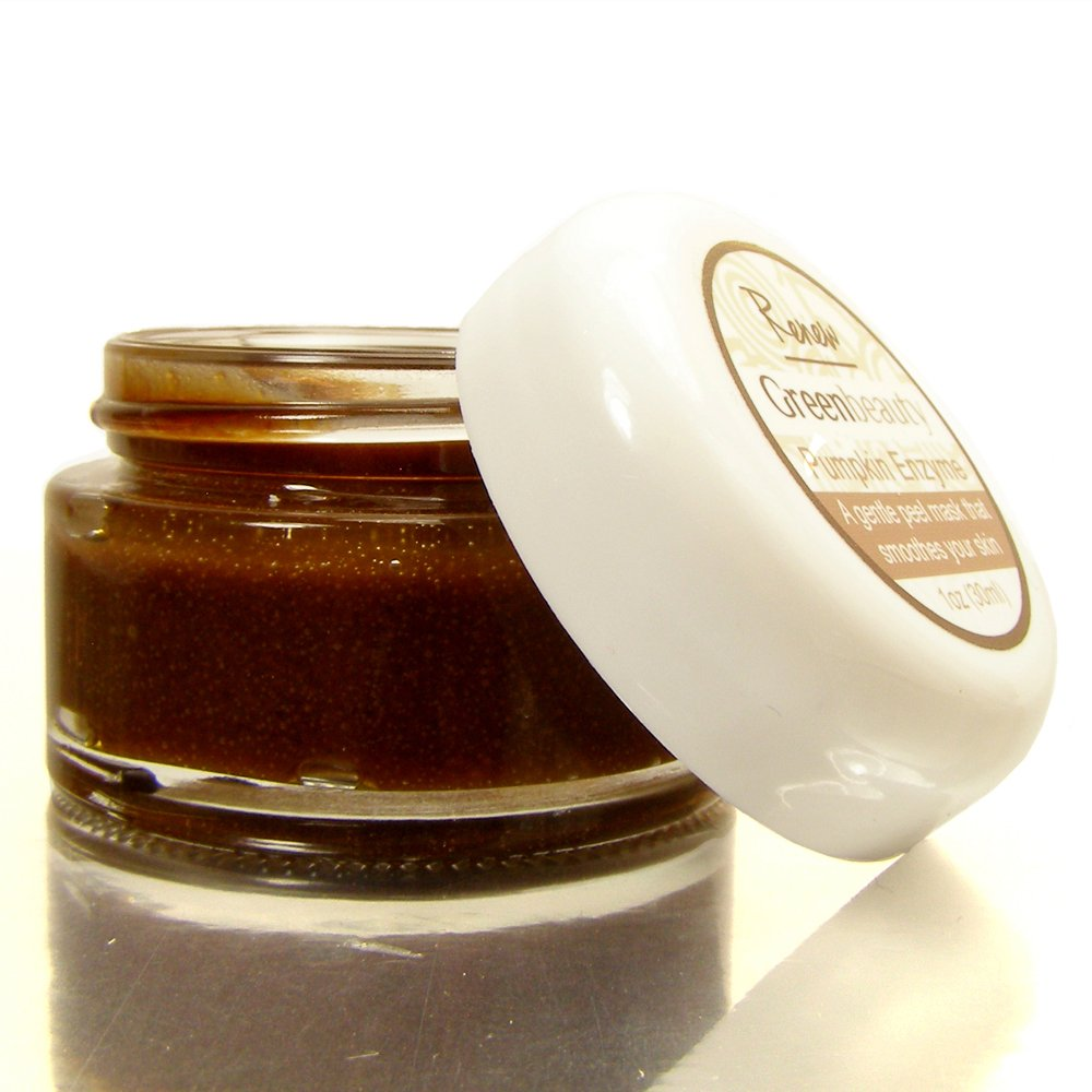 Pumpkin Enzyme Mask, peel mask gently exfoliates with pumpkin enzymes, sea kelp, raw honey and cacao. Eco friendly, cruelty free Green Beauty pumpkin enzyme exfoliator for mature skin. 1oz.