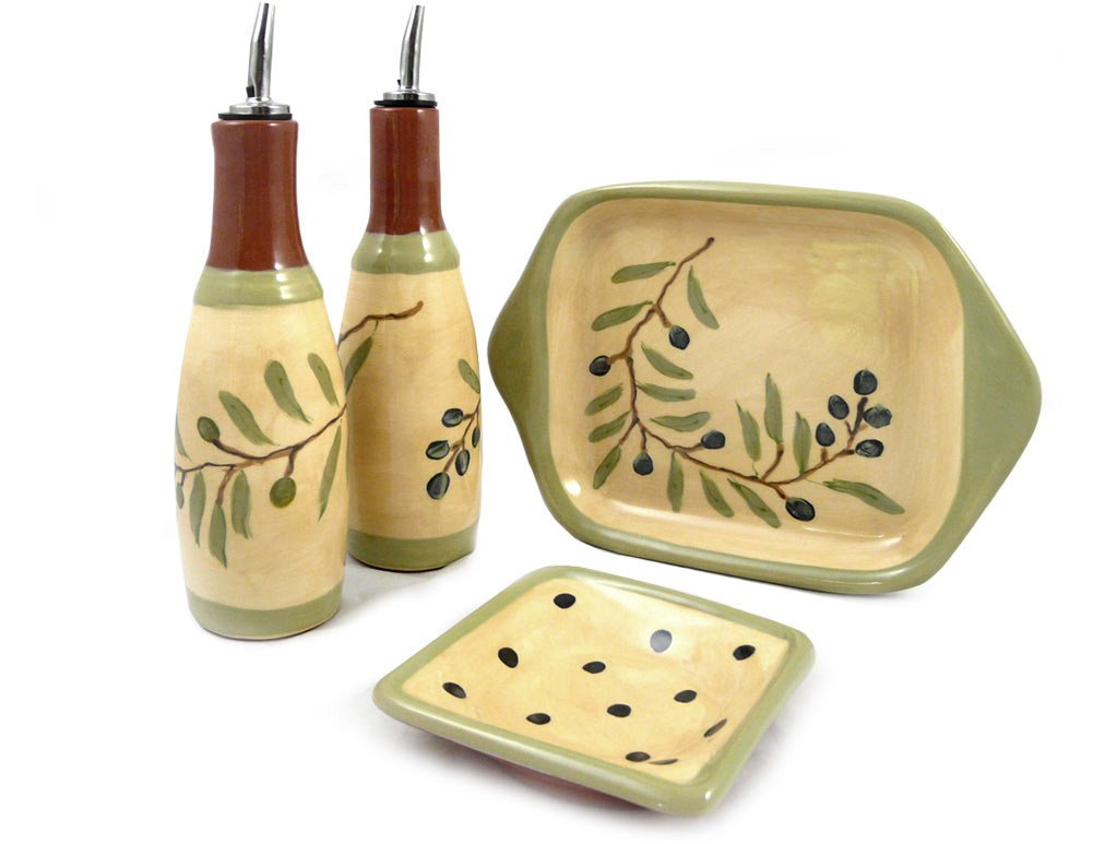 American Made Terra Cotta Pottery Oil and Vinegar Serving Set with Cruets, Dipping Dish, and Serving Tray, Mediterranean Olive Branch Motif