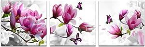 Cao Gen Decor Art-AH40233,Canvas Prints, Pink Flower 3 Panels Stretched Canvas Framed Wall Art