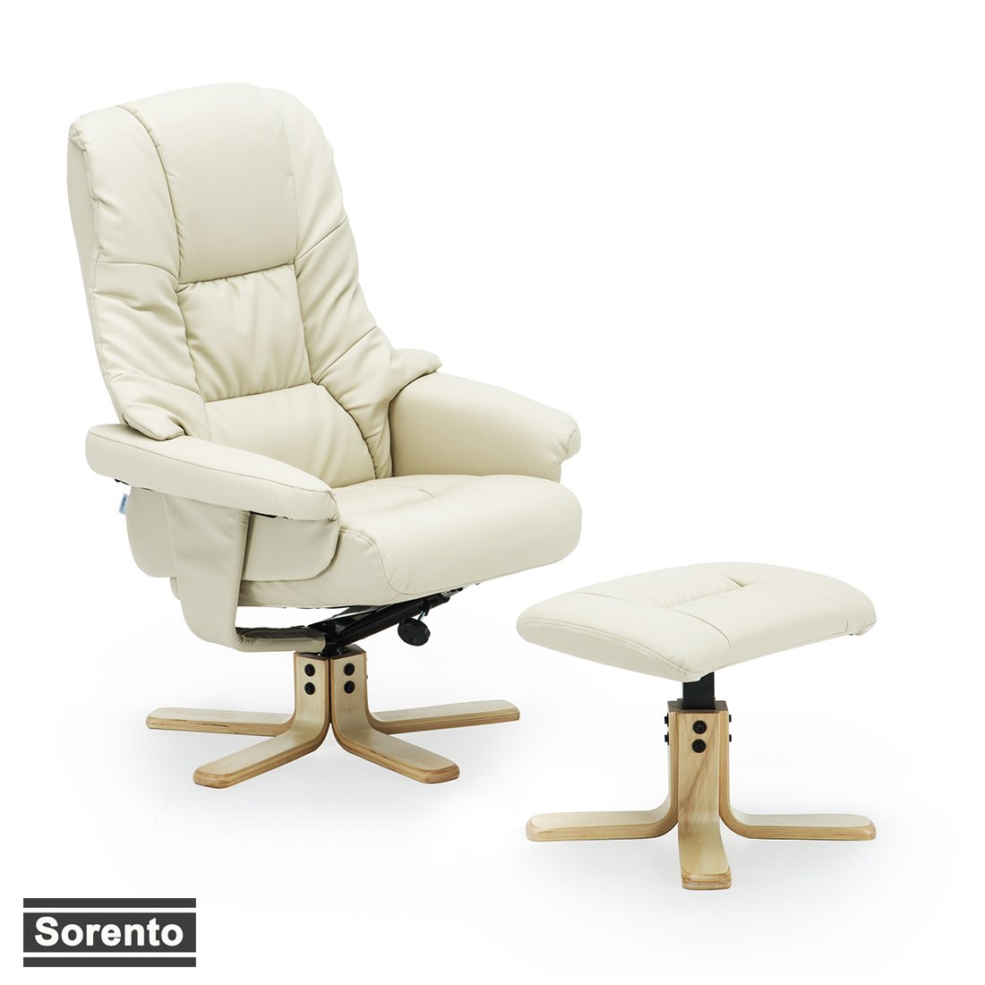 More4Homes SORENTO BONDED LEATHER SWIVEL RECLINER CHAIR ARMCHAIR FOOT STOOL (Cream)