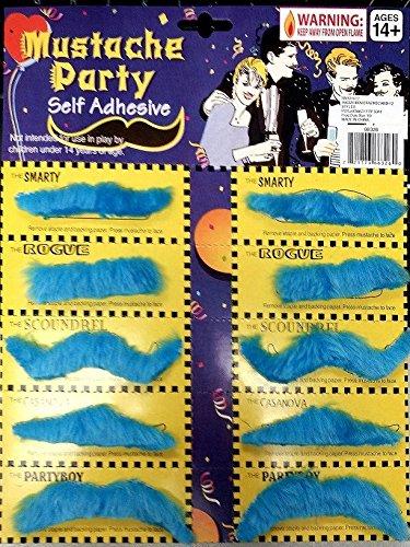 Forum Novelties 70632 Moustache Card 12 Styles Blue Mustache Party Pack