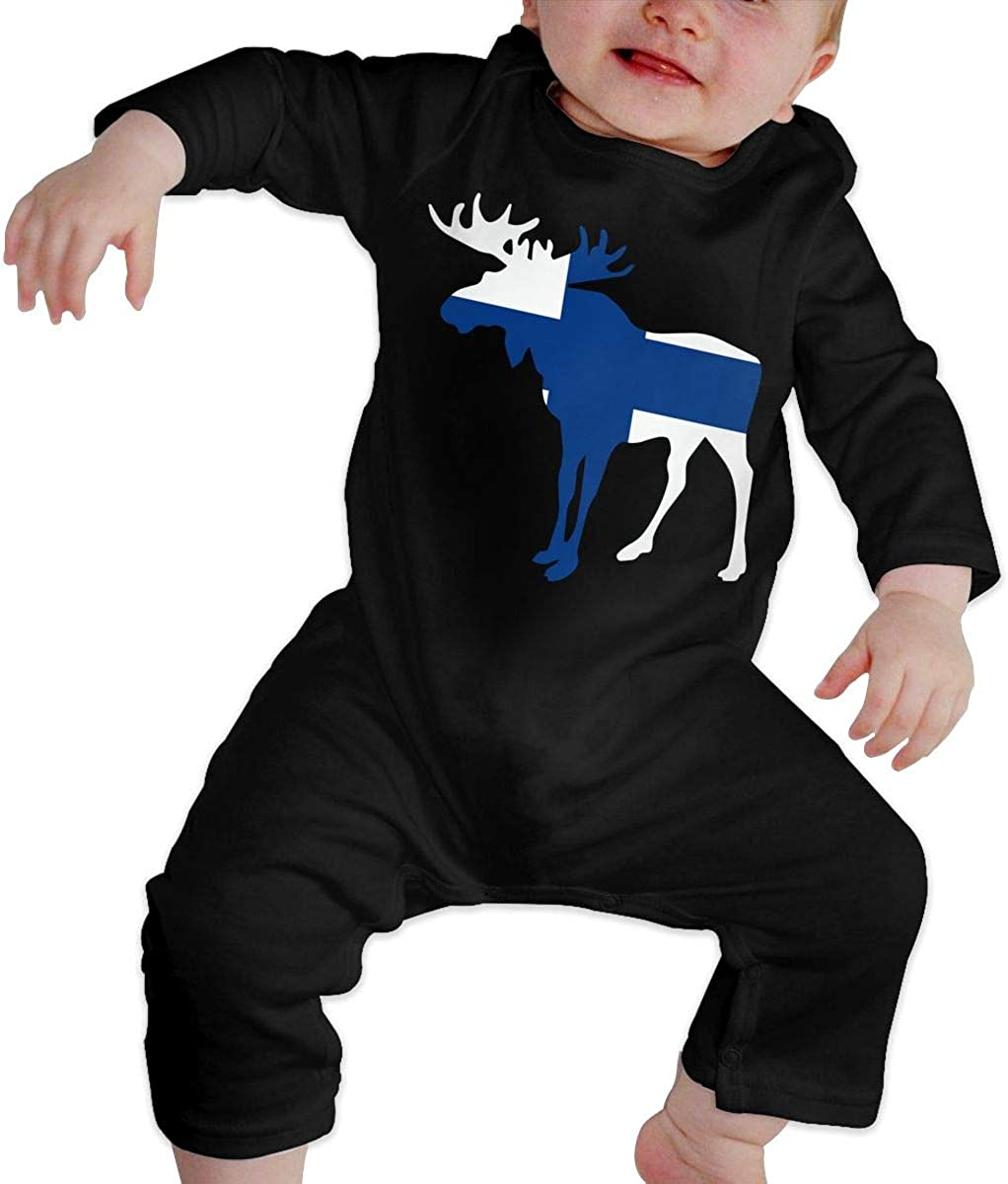 YELTY6F Finland Flag Moose Printed Newborn Infant Baby Boy Girl Bodysuit Long Sleeve Outfits Black