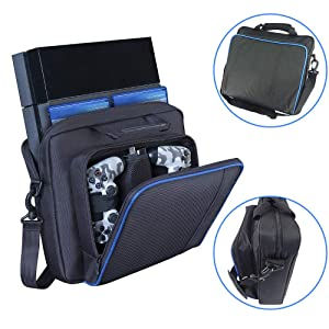 Ps4 Pro bag, ps4 carrying case for Console, Controllers, Games,travel bag compatiable with ps3&ps4 &ps4 slim& ps4 pro,Xbox One / Xbox One X /XboX 360/Nintendo Switch hard case by Win-digital (Color: For all PS3&PS4 series, Tamaño: For all PS3&PS4 series)