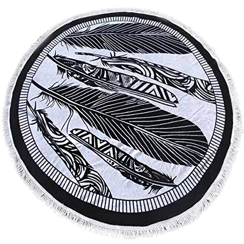 Round Roundie Beach Throw Tapestry Hippy Boho Gypsy Thin Polyester Fiber Beach Yoga Round Yoga Mat - Black & White,60 inches diameter