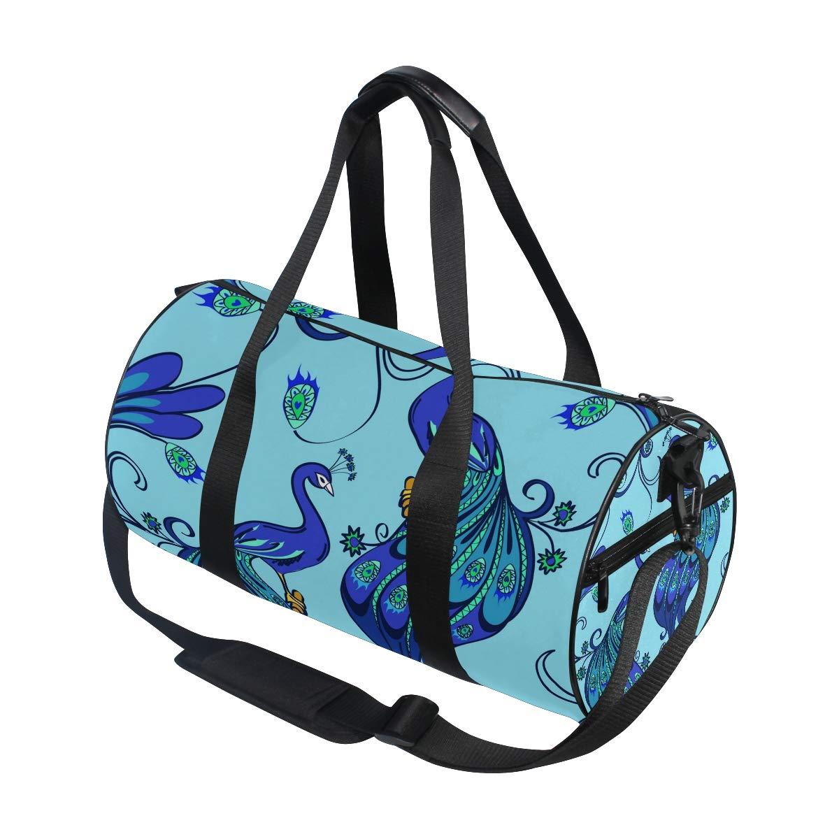 WIHVE Gym Duffel Bag Blue Magic Peacocks Sports Lightweight Canvas Travel Luggage Bag