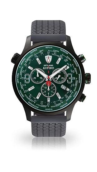 DETOMASO AURINO Racing Reloj Caballero Cronógrafo Analógico Correa de Silicona Gris Cuarzo Esfera Verde DT1061-N-772: Amazon.es: Relojes