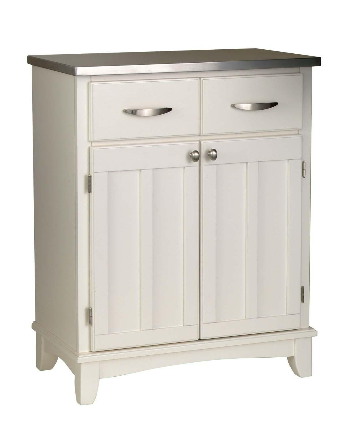 """White Buffet with Stainless Top (White) (35.5""""H x 29.25""""W x 16.5""""D) - Color: White Size: 35.5""""H x 29.25""""W x 16.5""""D Functional and Elegant. - sideboards-buffets, kitchen-dining-room-furniture, kitchen-dining-room - 61y1B8 CpaL -"""