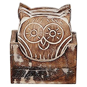 Simply Indian Drink an Coasters Set of 6 Wooden for Tea Coffee Beer Beverage Glass Dining Owl Design Handcrafted Tabletop Home Decor Kitchen Bar Wine Accessories