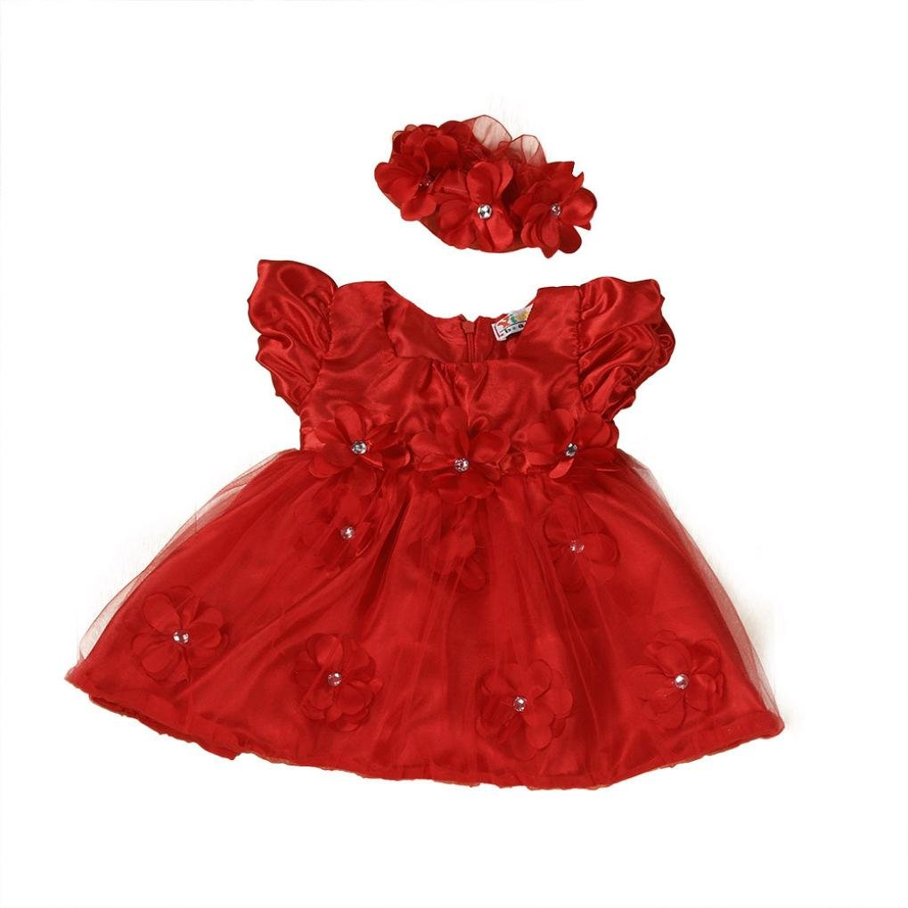 WuyiMC Clearance Baby Girls Red Lace Princess Headband Dresses For Christmas/New Year