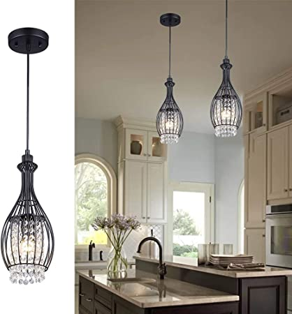 Modern Bedroom Light Decorations Crystal effect Light Shade Black Crystal