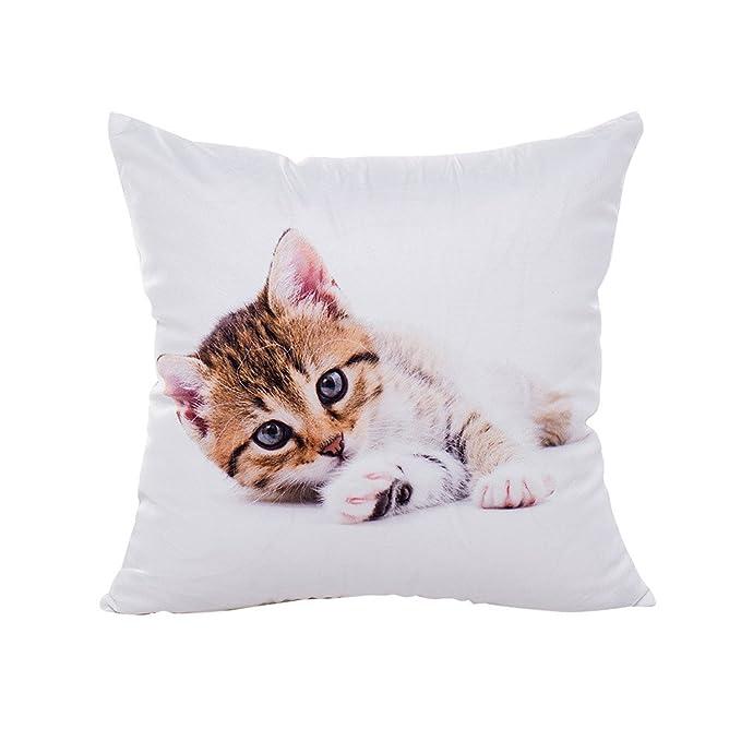 Logobeing Funda Cojines Impresión de gato Fundas de almohada poliéster sofá coche cojín decoración del hogar