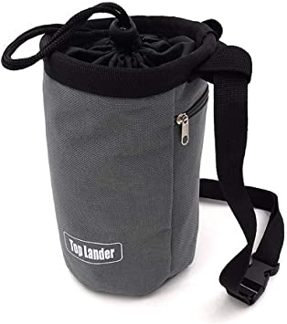Chalk Bag—Bolsa de Magnesio en Polvo Gris Para Alpinismo, Levantamiento de Pesas, para escalada Bolsillo con Cremallera, Correa de Cintura.