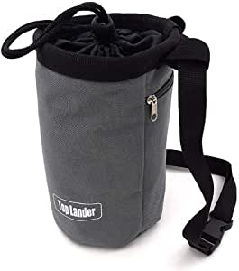 Top Lander Gray Chalk Bag for Rock Climbing Bouldering Weightlifting Powerlifting Gym Workout with Zippered Pocket, Adjustable Strap and Quick-Clip Belt