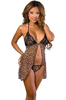 Velvet Kitten Sexy Open Front Leopard Babydoll Lingerie Set One Size 3060 eb26dc9b5