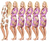 Set of 6 Women's Satin Short Floral Wedding Robes - Bridesmaids Dressing Gown