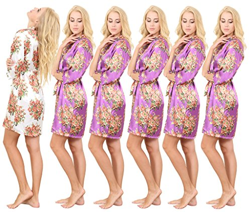 Set of 6 Women's Satin Short Floral Wedding Robes - Bridesmaids Dressing Gown by Mr&Mrs Right
