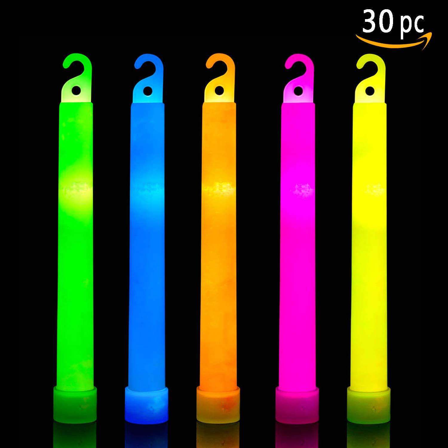 30 Ultra Bright Glow Sticks Plus 30 Party Strings - Total 60 Pcs - Bulk Pack Industrial Grade - 6 Inch Waterproof Glow Stick - Glow Light With 12 Hour Duration - Mixed Colors - Bend, Shake To Activate by HSGUS (Image #1)