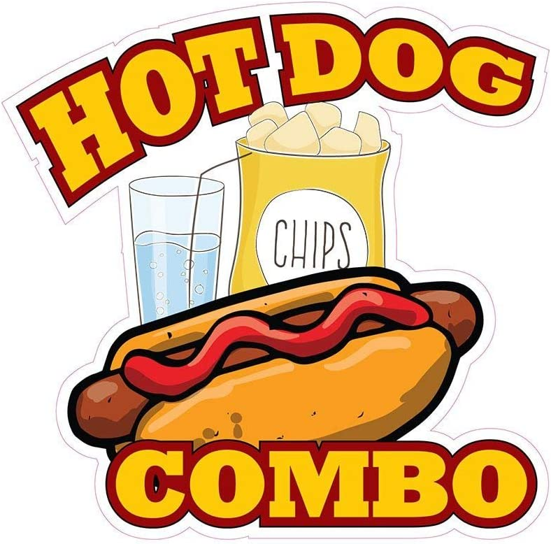 Hotdog Combo Concession Decal Sign Restaurant Food Truck Vinyl Sticker 10 inches