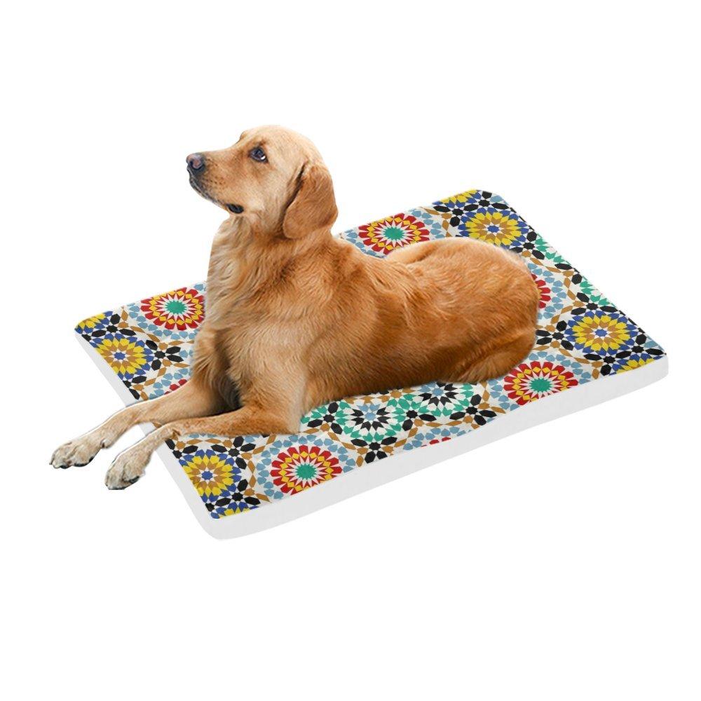 42\ your-fantasia Mandala Retro Daisy Flowers Pet Bed Dog Bed Pet Pad 42 x 26 inches