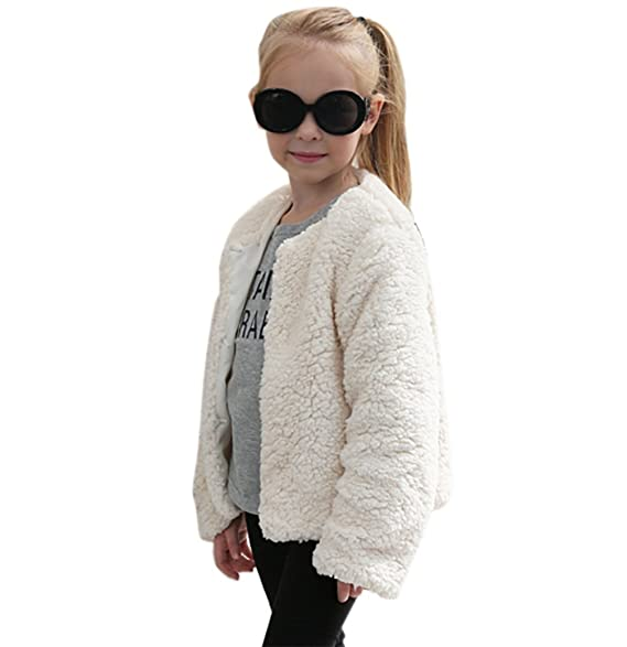 Corala Toddler Little Kids Girls Winter Warm Fluffy Synthesis Fur Long Sleeve Vest Waistcoat Jacket Coat
