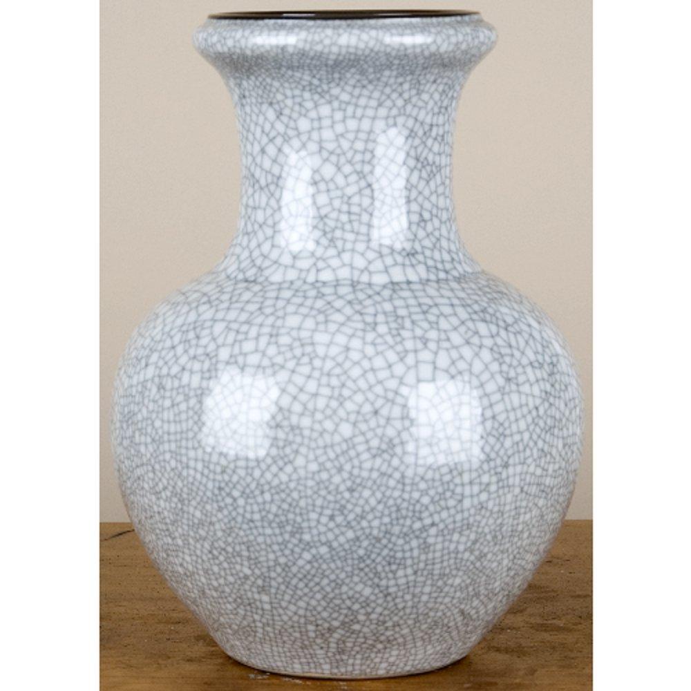 Home decor. Crackle Finished Porcelain Vase. Dimension: 8 x 8 x 10. Pattern: Color Classic.
