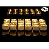 Flameless LED Tea Light Candles, Realistic Flickering Amber Yellow Battery Powered Bulb Tealight Perfect for Seasonal Décor, Parties, Celebrations and Special Events Pack of 24 Instapark